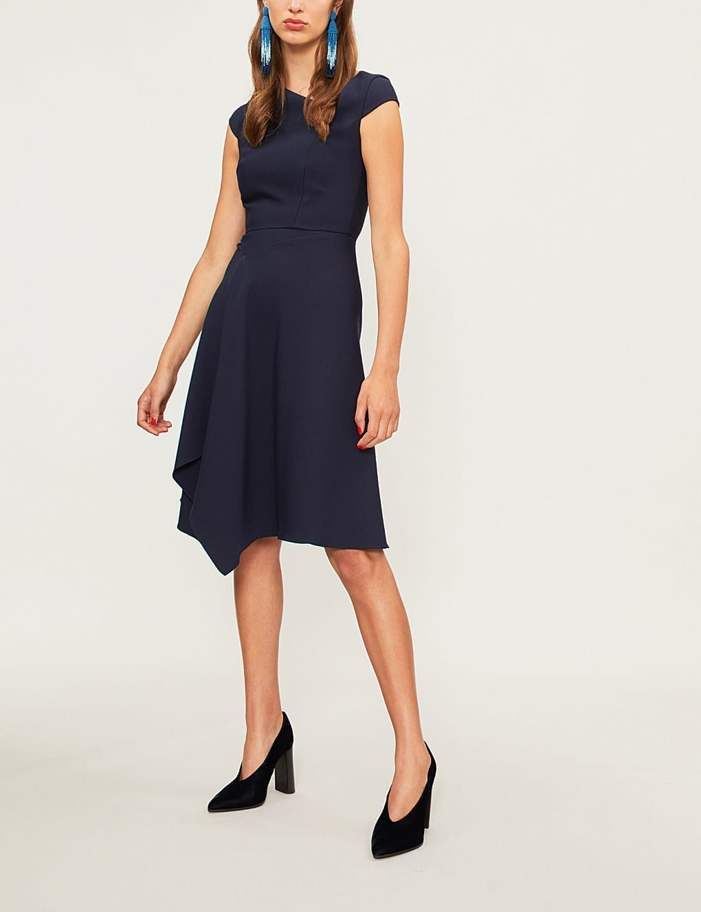 ROLAND MOURET Augustus Crepe Navy Dress