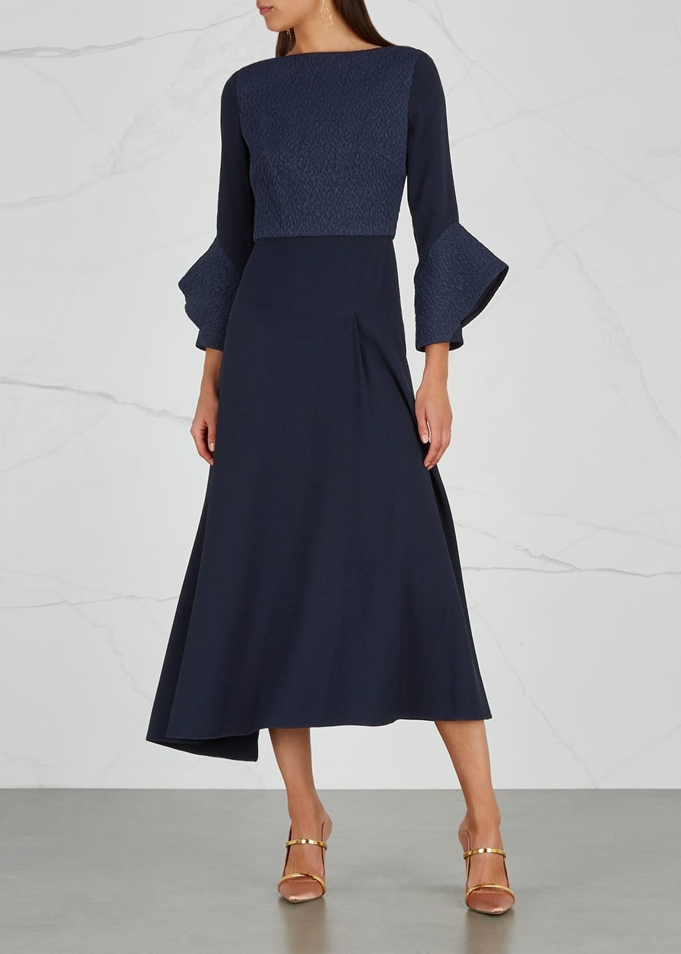 ROLAND MOURET Hemming Textured-panelled Navy Dress