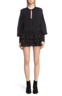 SAINT LAURENT Floral Jacquard Mini Black Dress