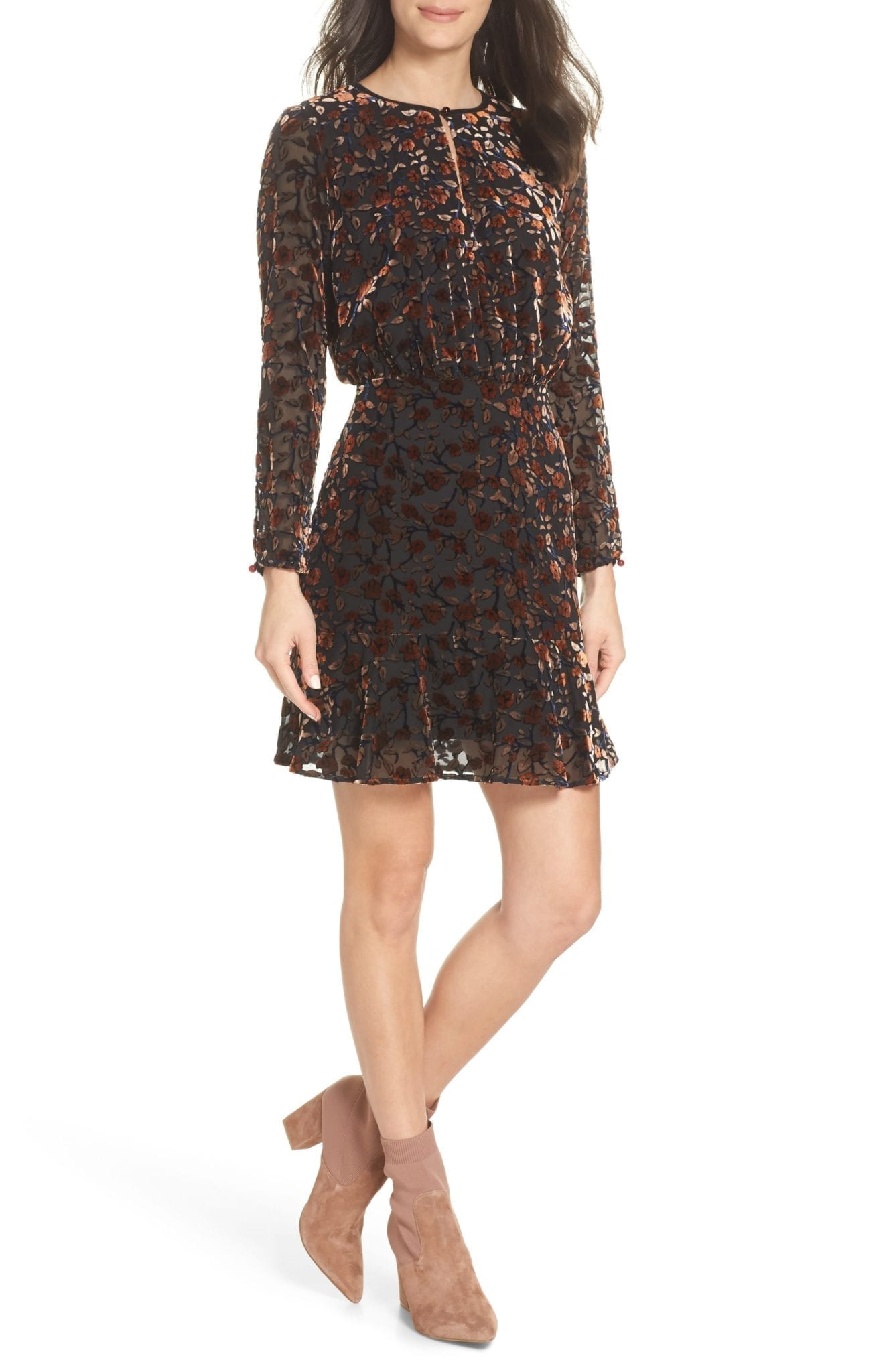 SAM EDELMAN Velvet Burnout Rose / Wine Dress