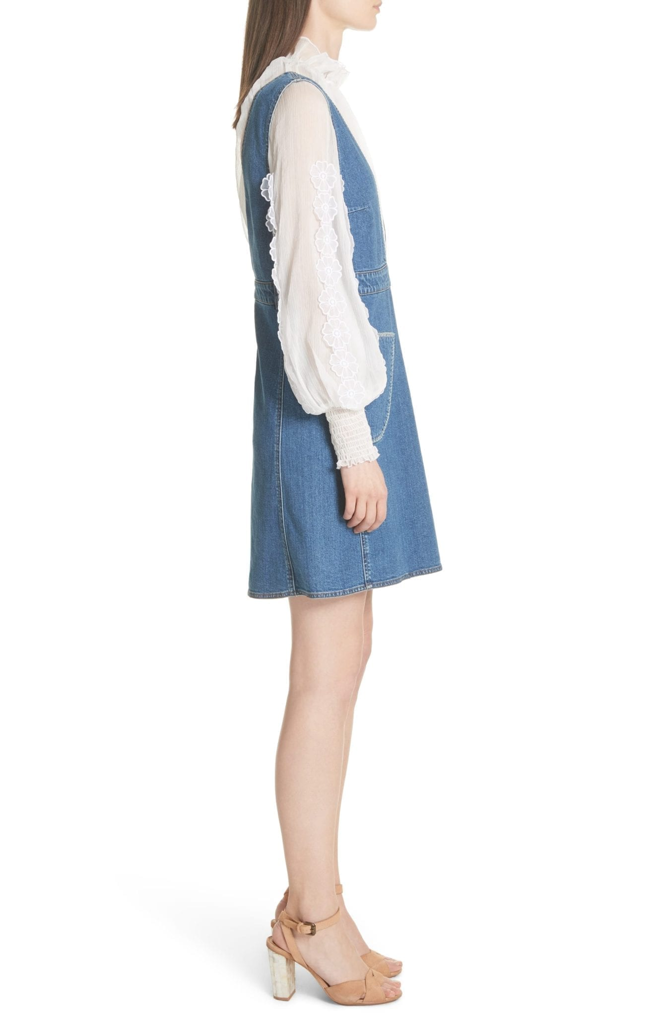 SEE BY CHLOÉ Denim Overall Shady Cobalt Dress