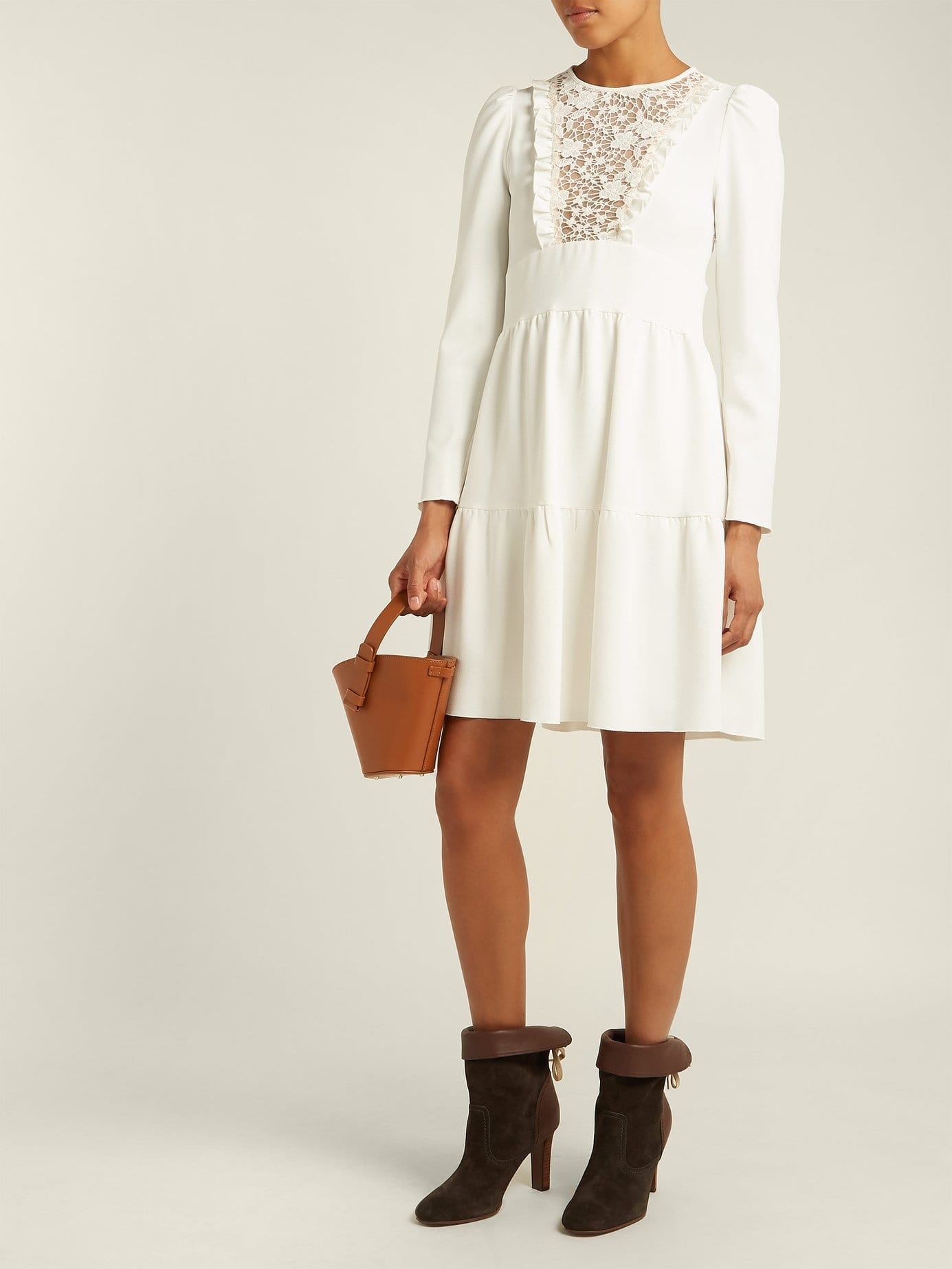 SEE BY CHLOÉ Lace Crêpe White Dress