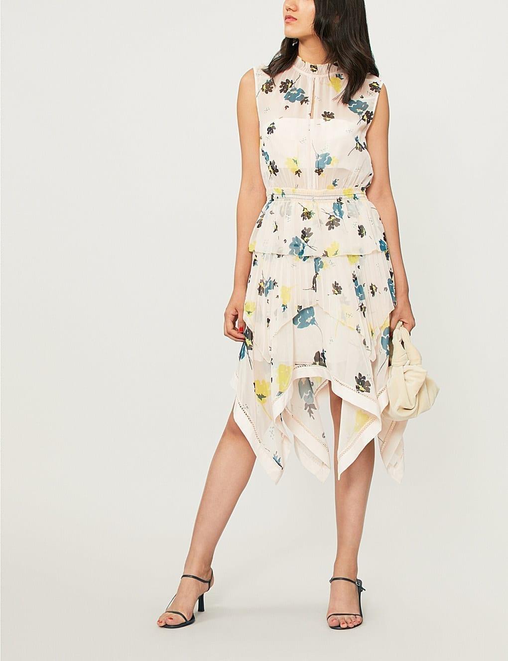 47ad4100a0e8 SELF-PORTRAIT Asymmetric Graphic Chiffon Nude / Floral Printed Dress ...