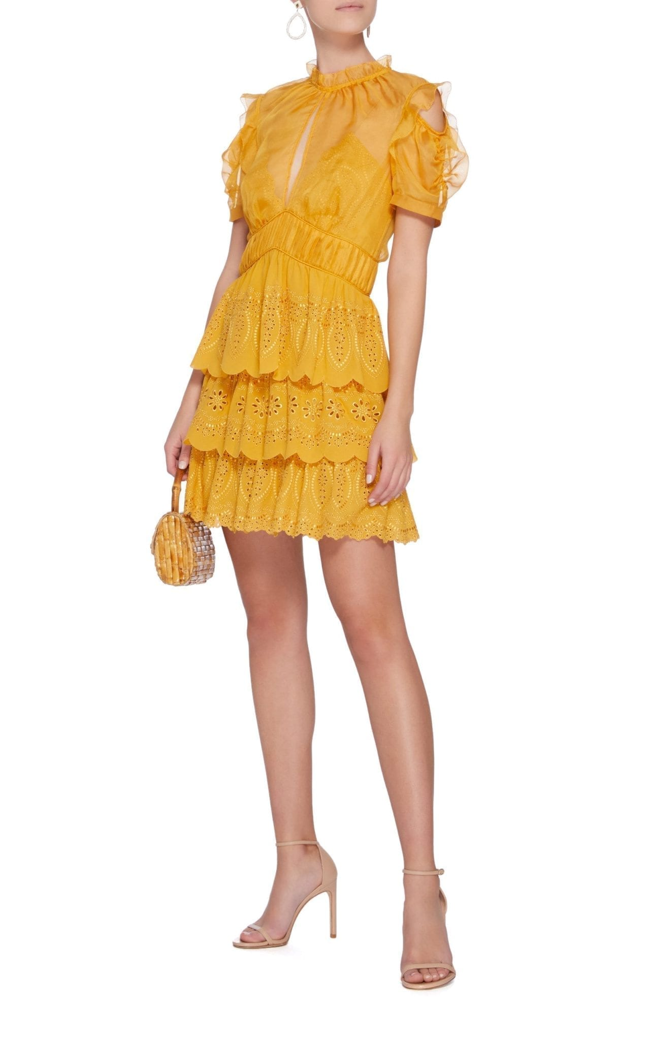 SELF PORTRAIT Embroidered Tiered Chiffon Mini Yellow Dress