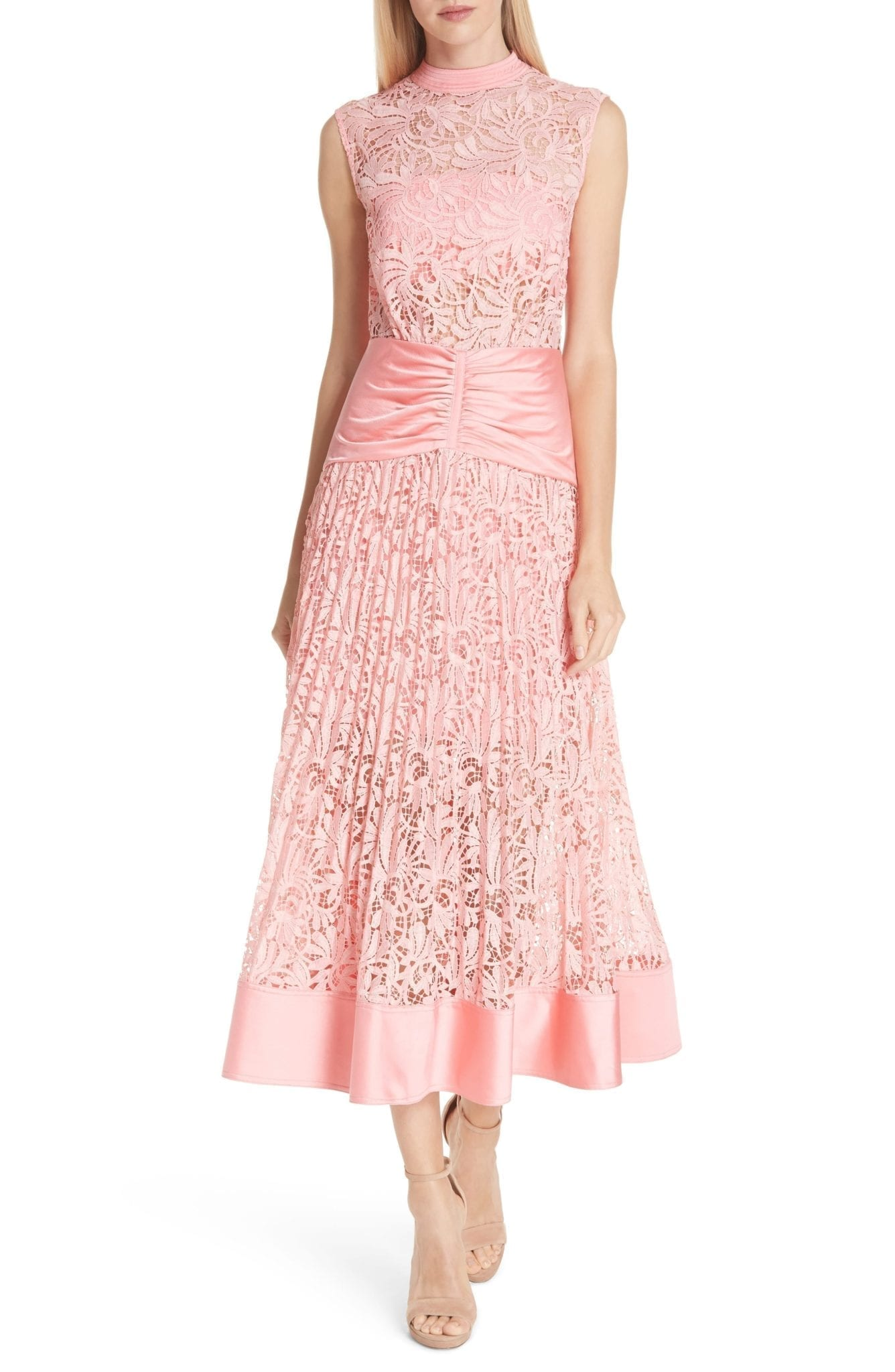 ce479b40a6524 SELF-PORTRAIT Floral Lace Sleeveless Midi Pink Dress - We Select Dresses