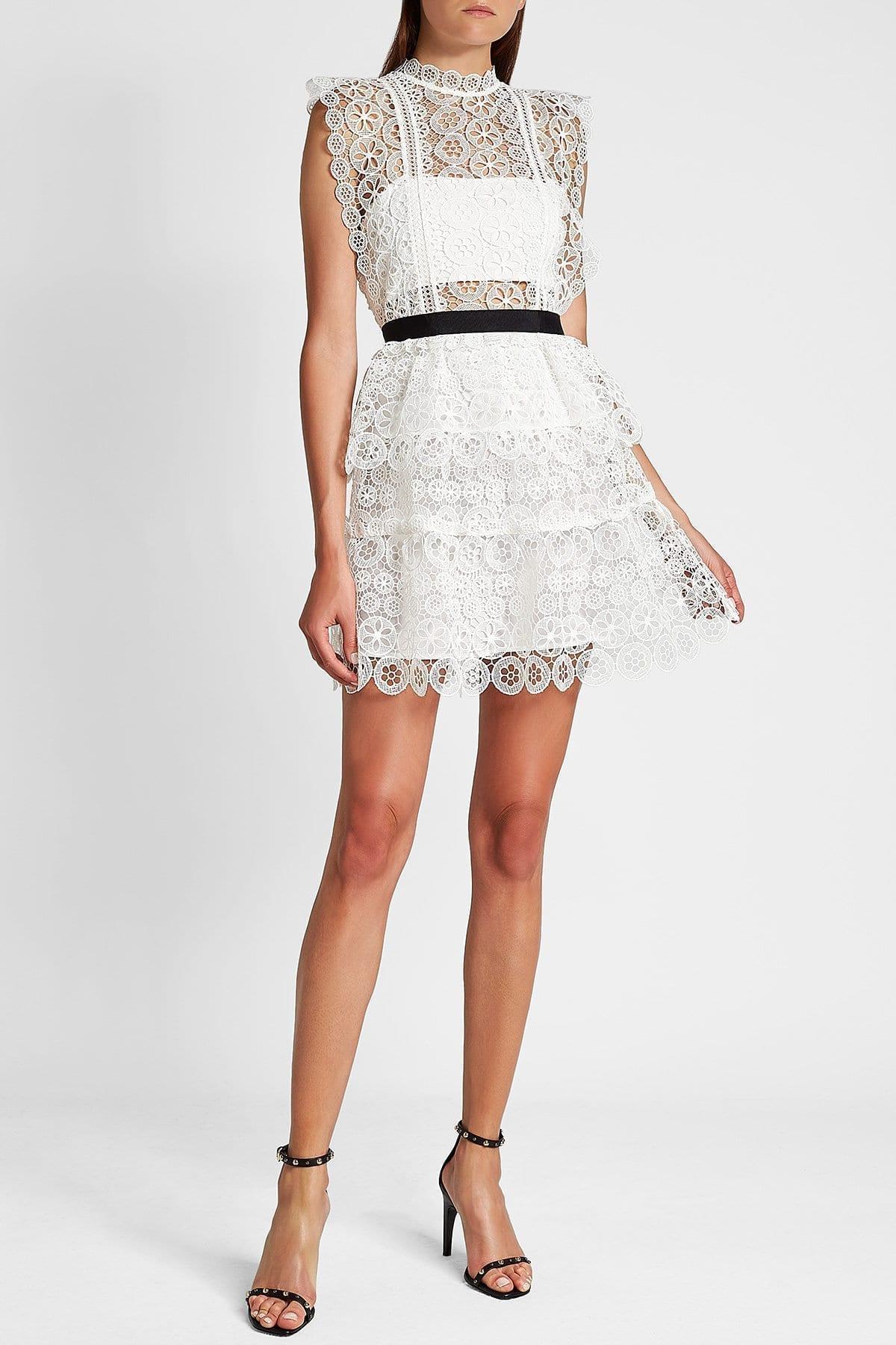 SELF-PORTRAIT Lace Mini White Dress