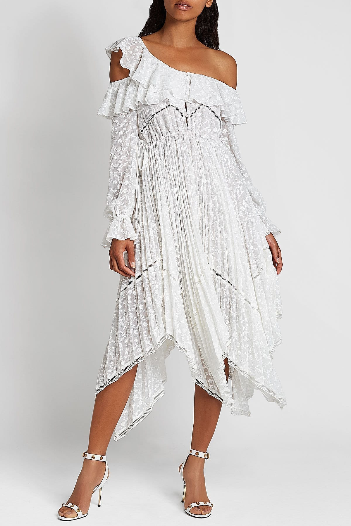 SELF-PORTRAIT Off-Shoulder Daisy Embroidered Lace White Dress