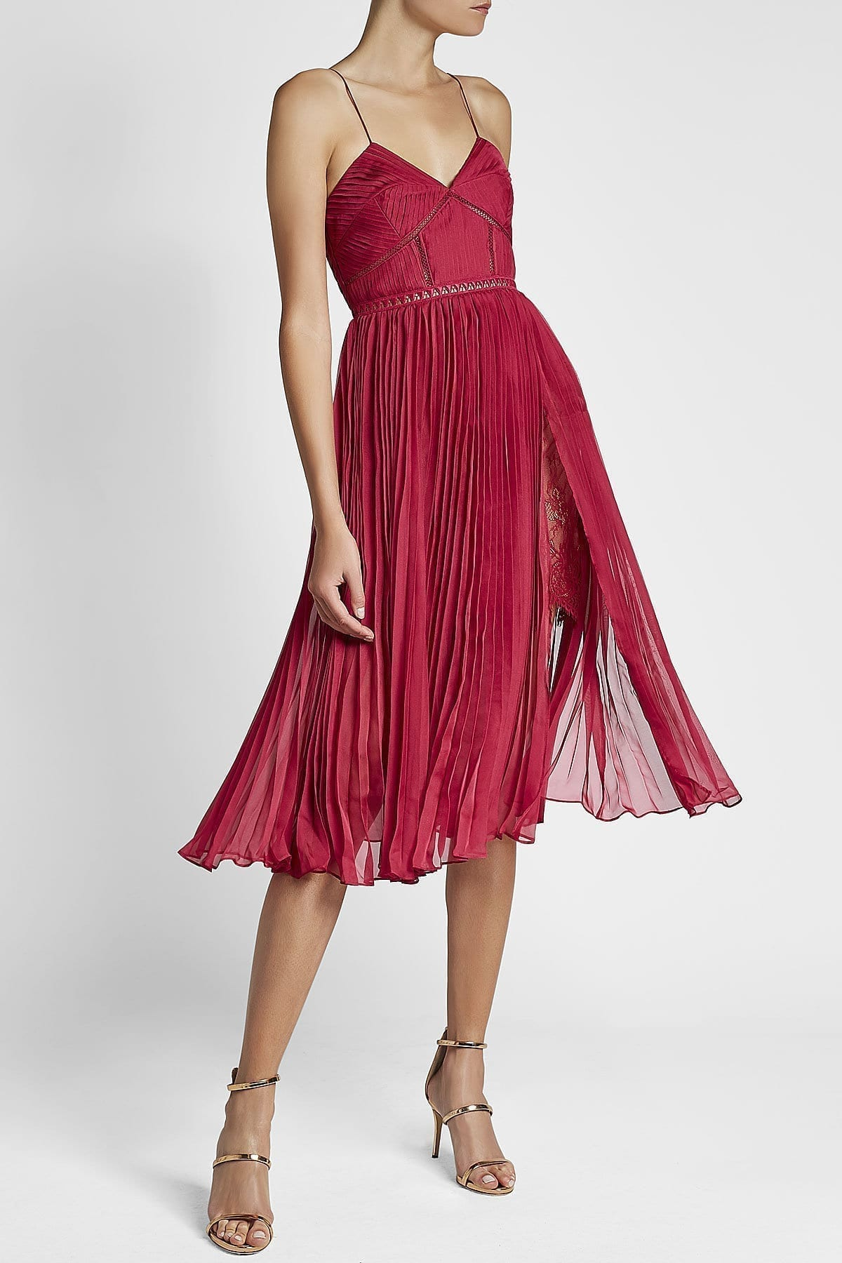 SELF-PORTRAIT Pleated Chiffon Midi Magenta Dress