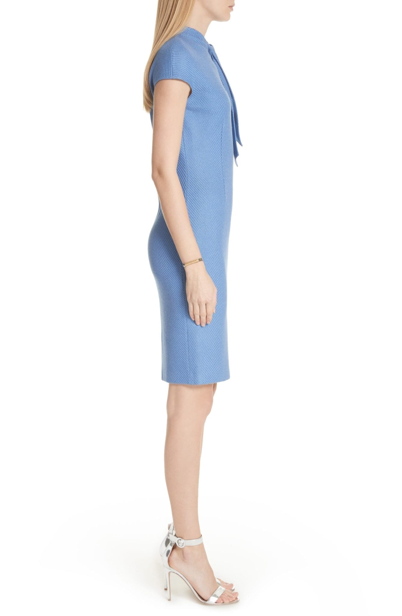 ST. JOHN COLLECTION Sarga Knit Twill Knotted Tie Cornflower Dress