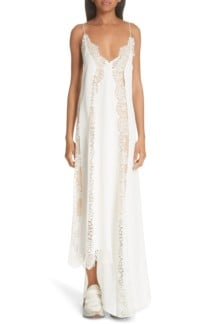 STELLA MCCARTNEY Lace Panel Asymmetrical Silk Ivory Dress