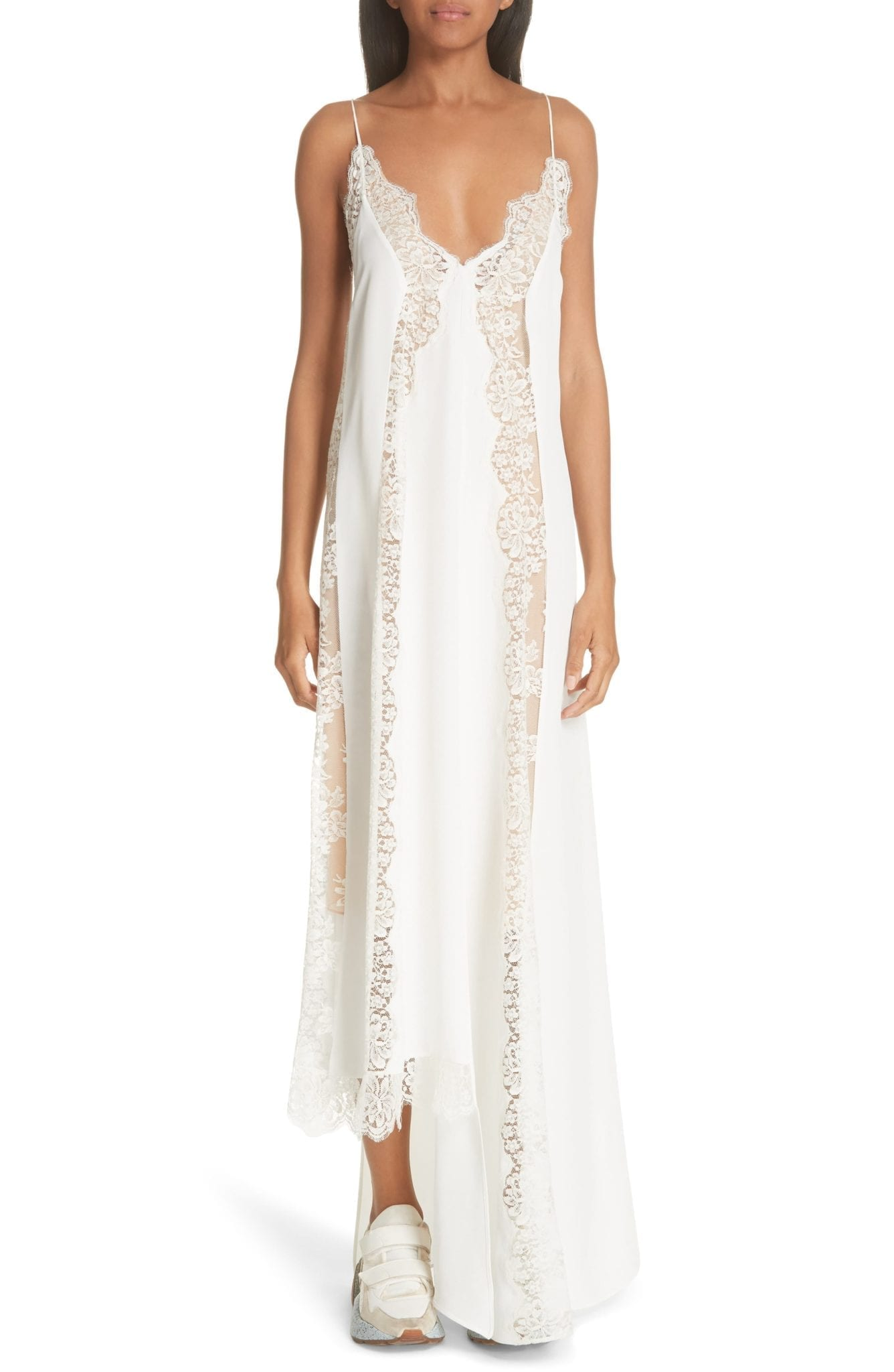 f5ab0e2f38a34 STELLA MCCARTNEY Lace Panel Asymmetrical Silk Ivory Dress