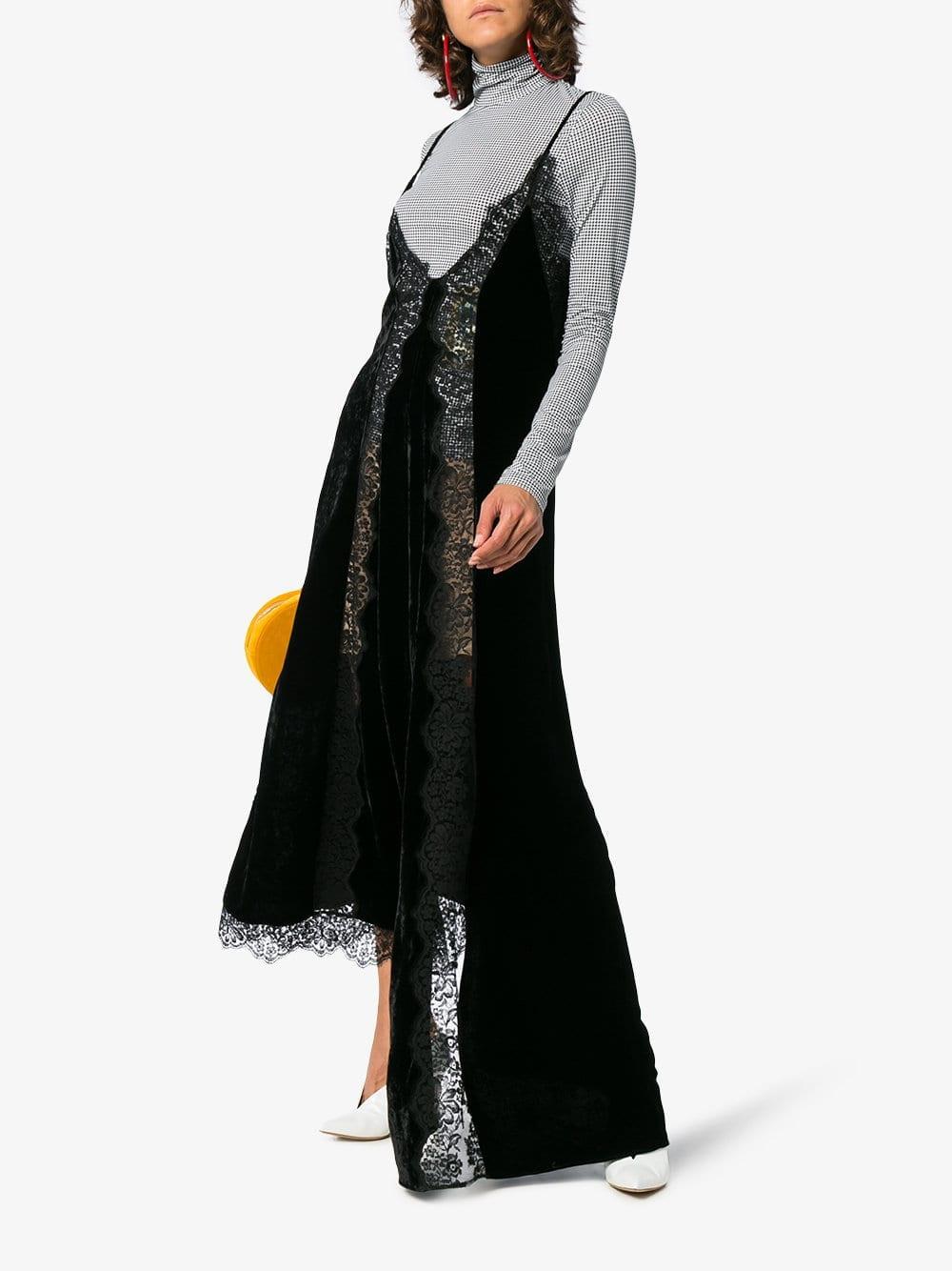 STELLA MCCARTNEY Lace Slip Silk Black Dress - We Select Dresses