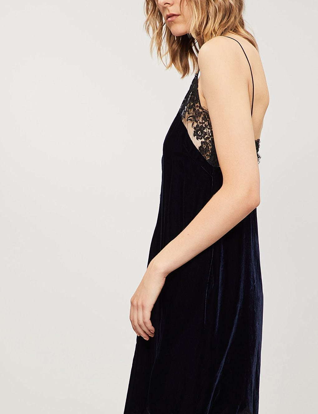 Stella Mccartney Lace Trimmed Velvet Mini Black Dress