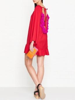 SUNDRESS Indiana Frill Pom Pom Back Red Dress