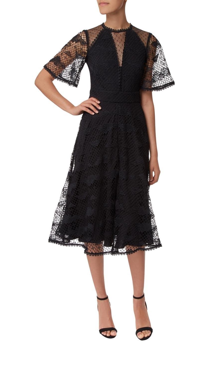 TEMPERLEY LONDON Haze Lace Sleeved Black Dress