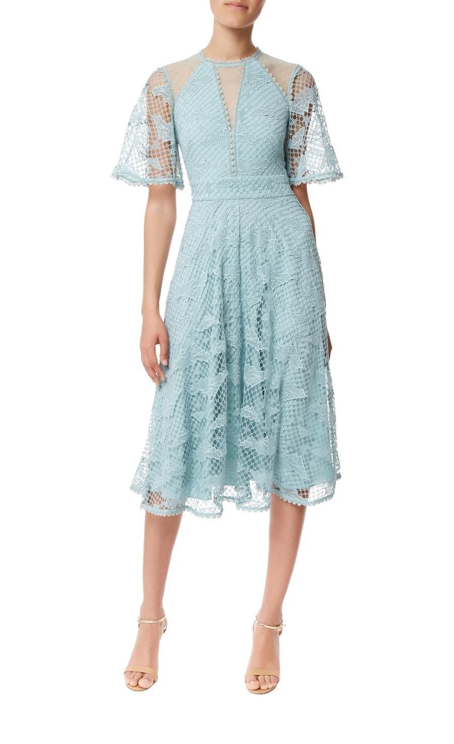 TEMPERLEY LONDON Haze Lace Sleeved Blue Dress