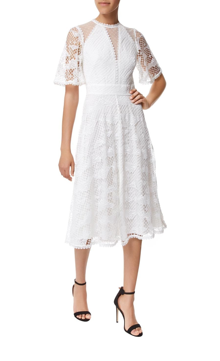 TEMPERLEY LONDON Haze Lace Sleeved White Dress