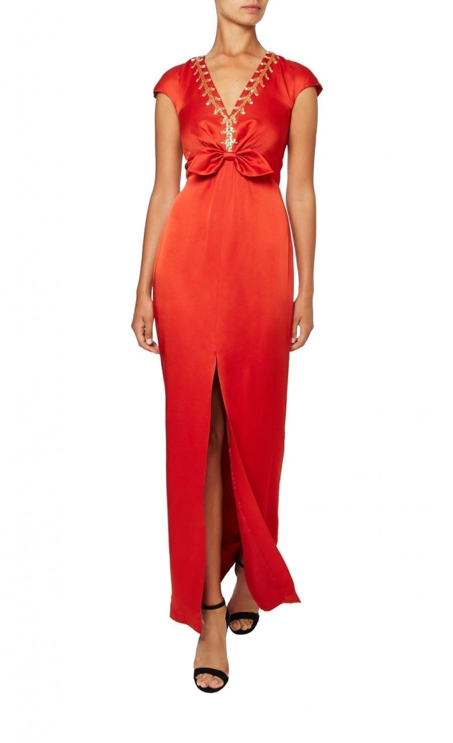 TEMPERLEY LONDON Nile Tie Vermilion Dress