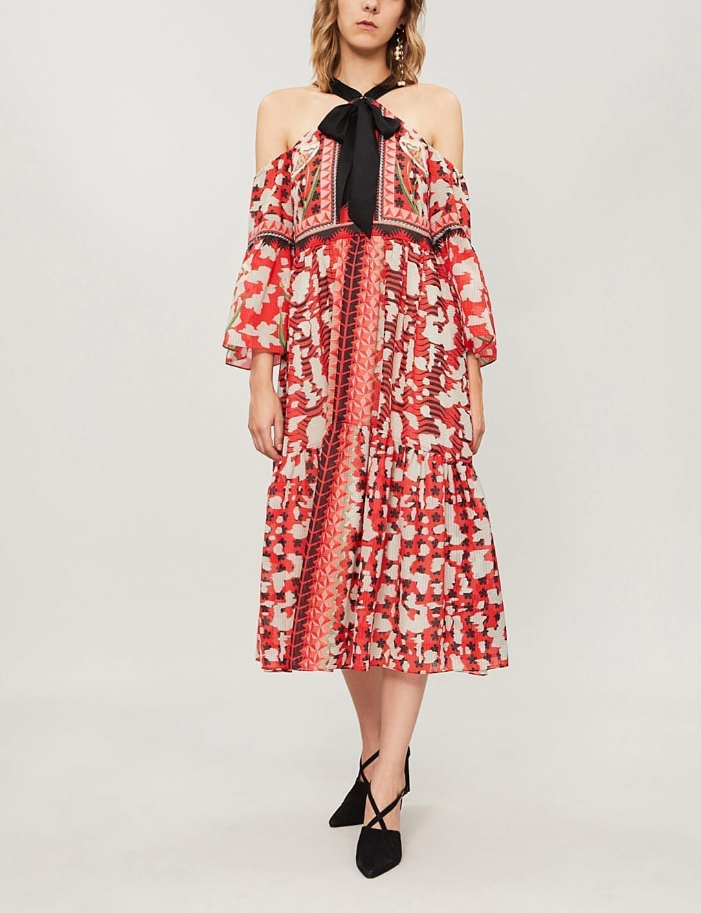 TEMPERLEY LONDON Odyssey Cold-shoulder Printed Chiffon Midi Vermillion Mix Dress