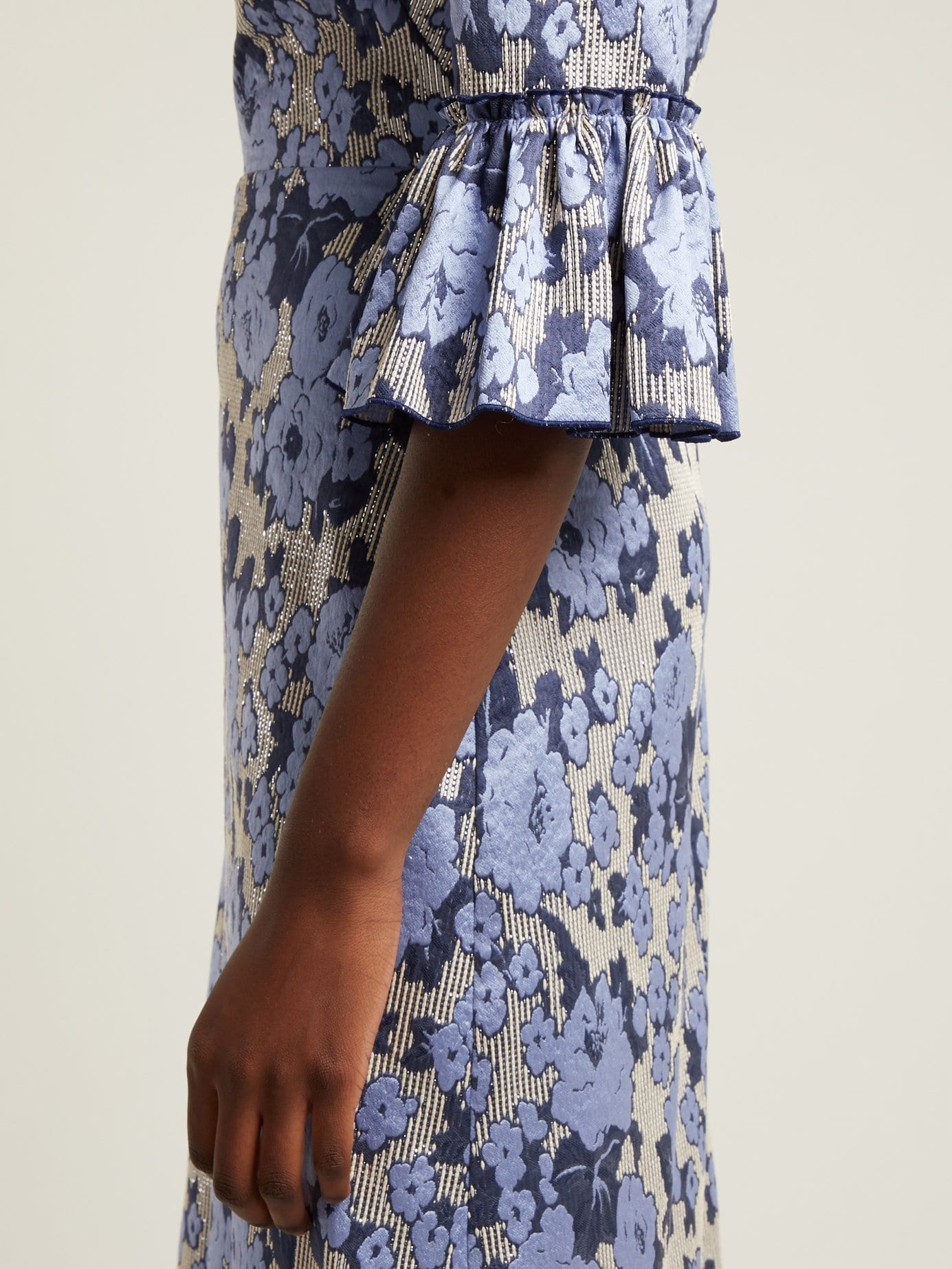 THE VAMPIRE'S WIFE Festival Floral Jacquard Ruffle Trimmed Blue Dress