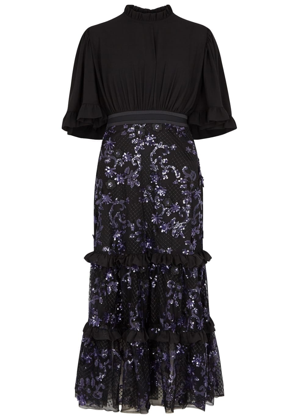 THREE FLOOR Floralicious Crepe Midi Black Dress