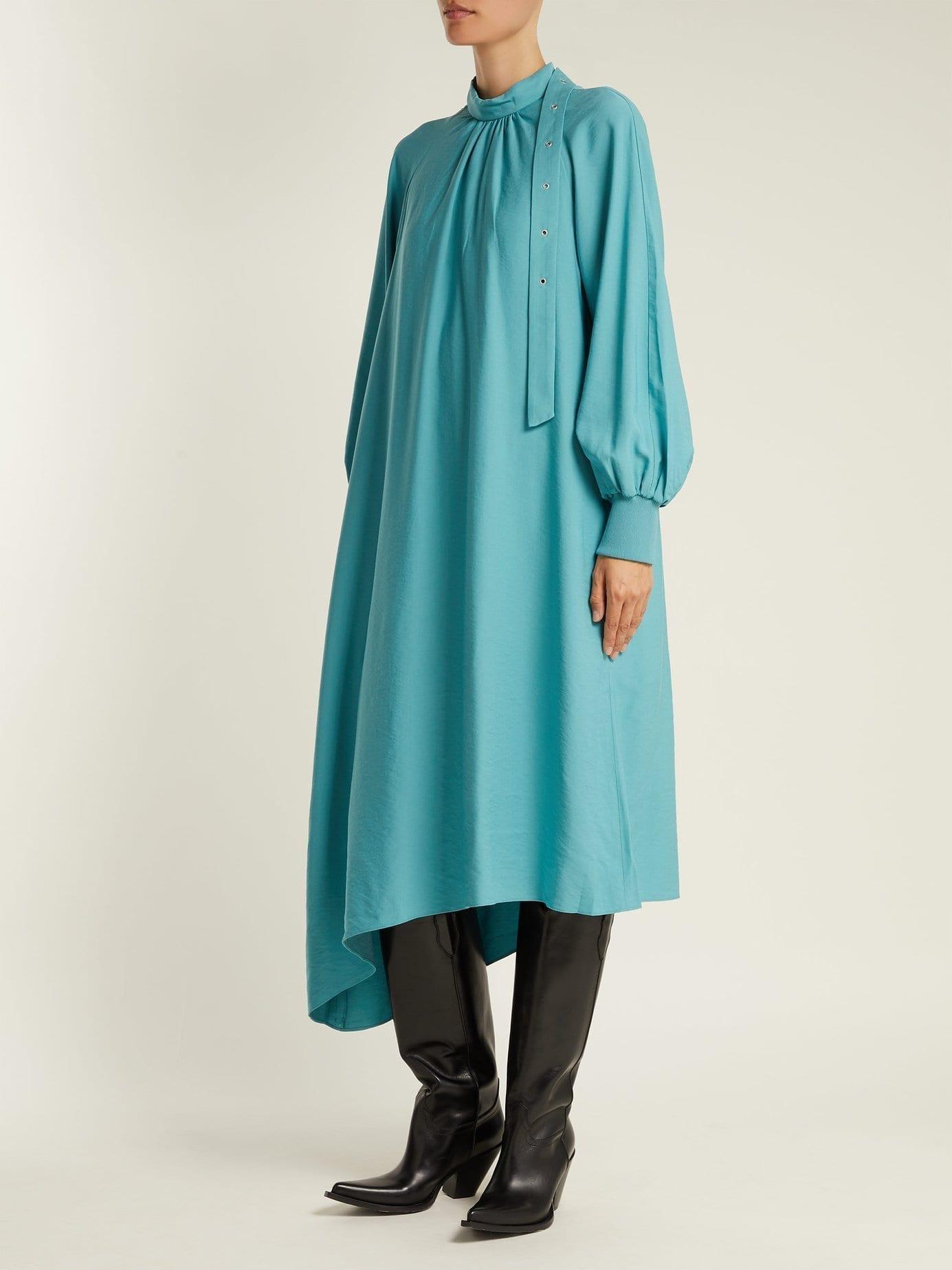 TIBI High Neck Asymmetric Twill Teal Dress