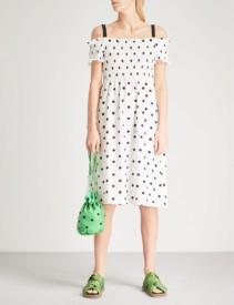 TOPSHOP Off The Shoulder Polka Dot Jersey White Dress