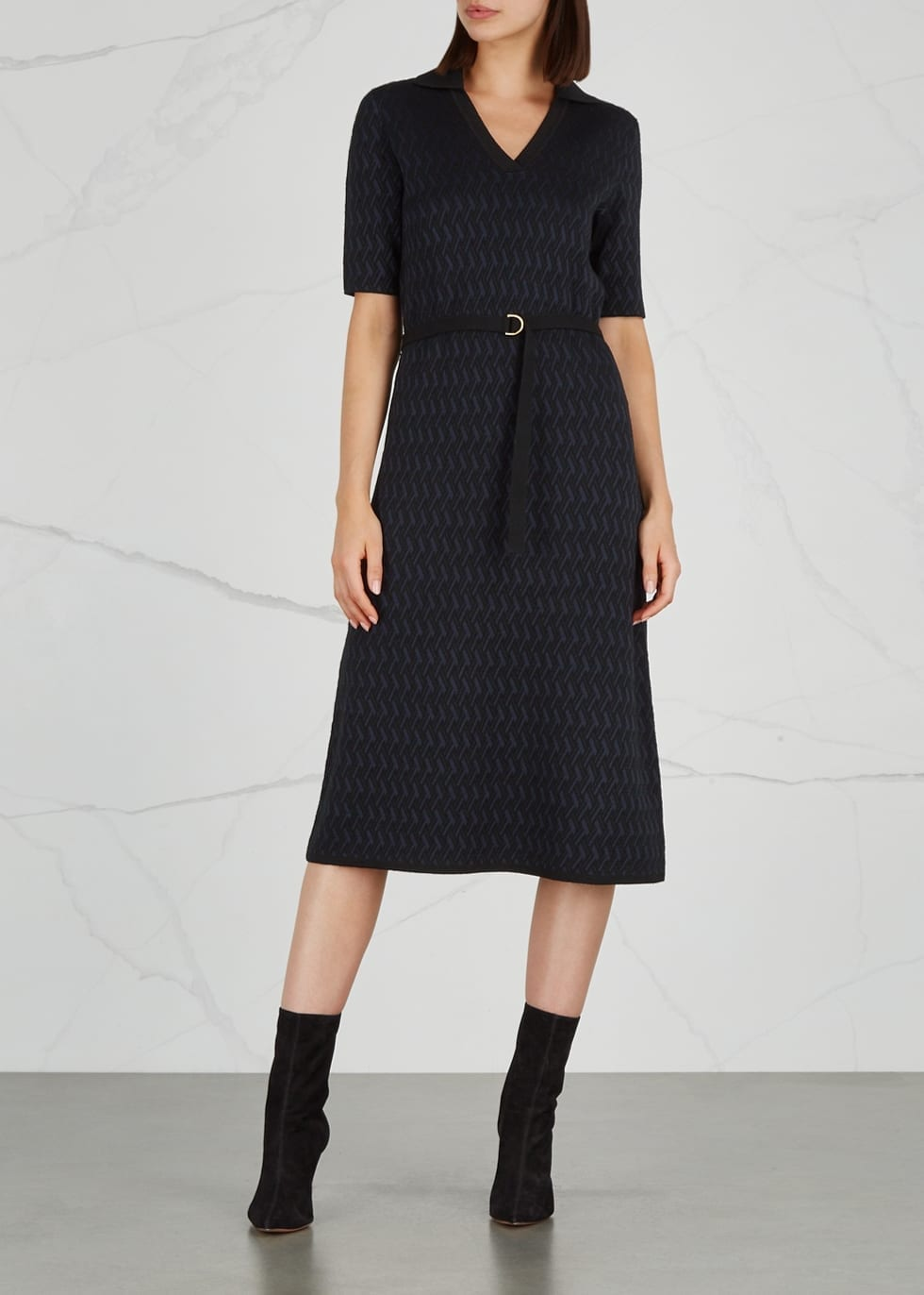 TORY BURCH Dara Jacquard Knit Navy Dress
