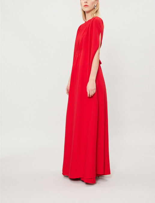 VALENTINO Bow Embellished Silk Crepe Rosso Gown
