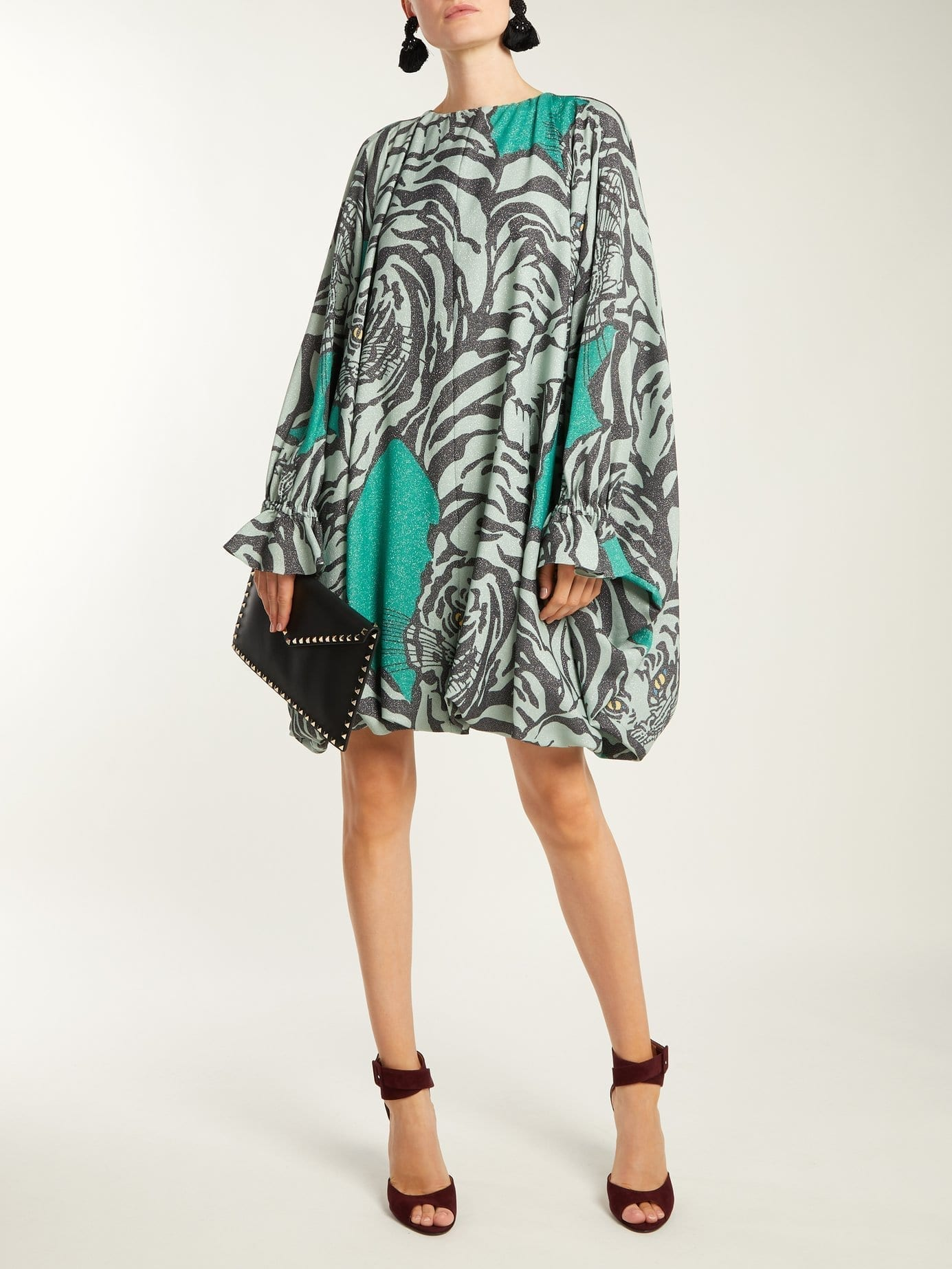 VALENTINO Tiger Print Balloon Sleeve Midi Green Dress
