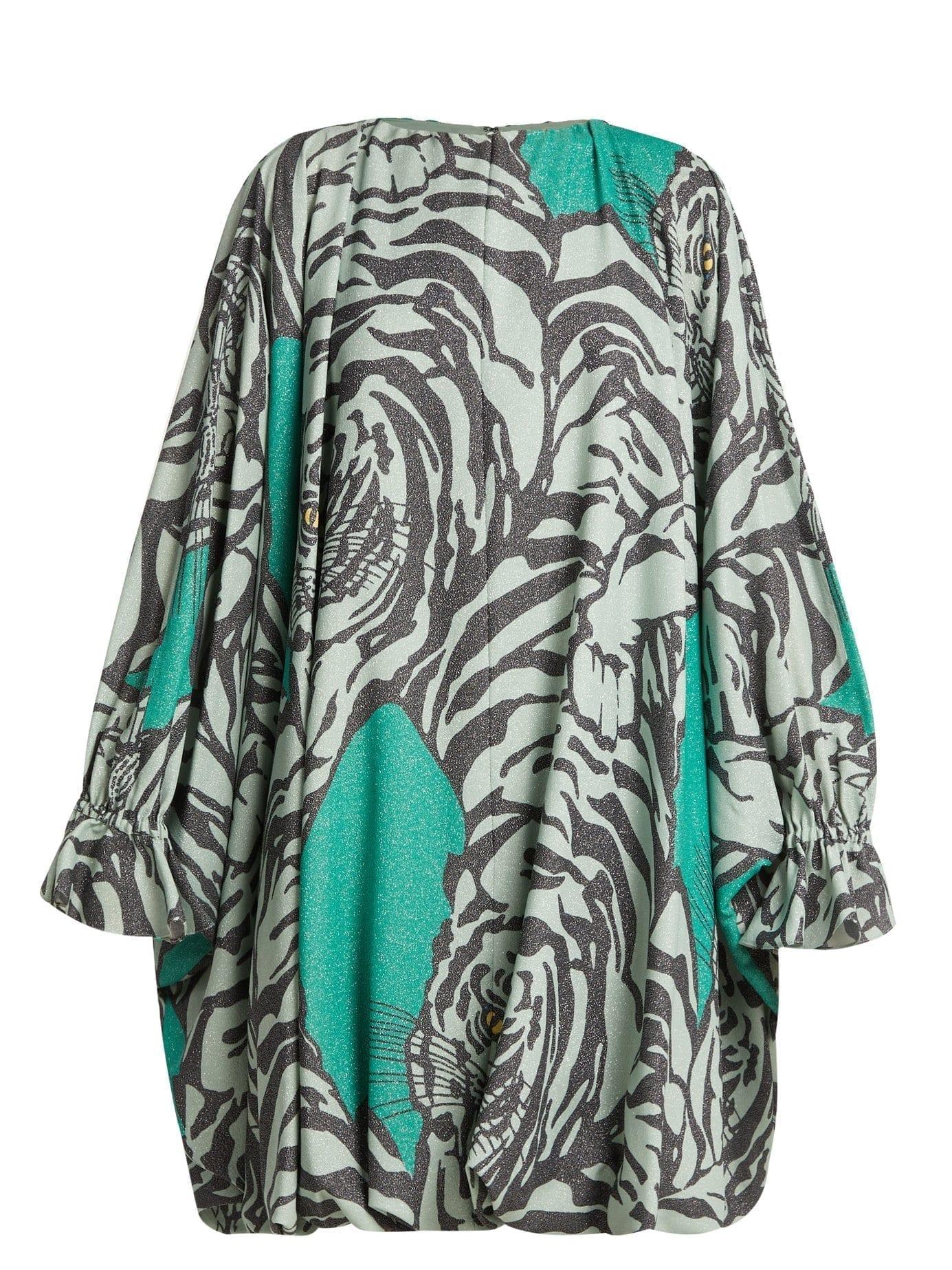 VALENTINO Tiger Print Balloon Sleeve Midi Green Dress