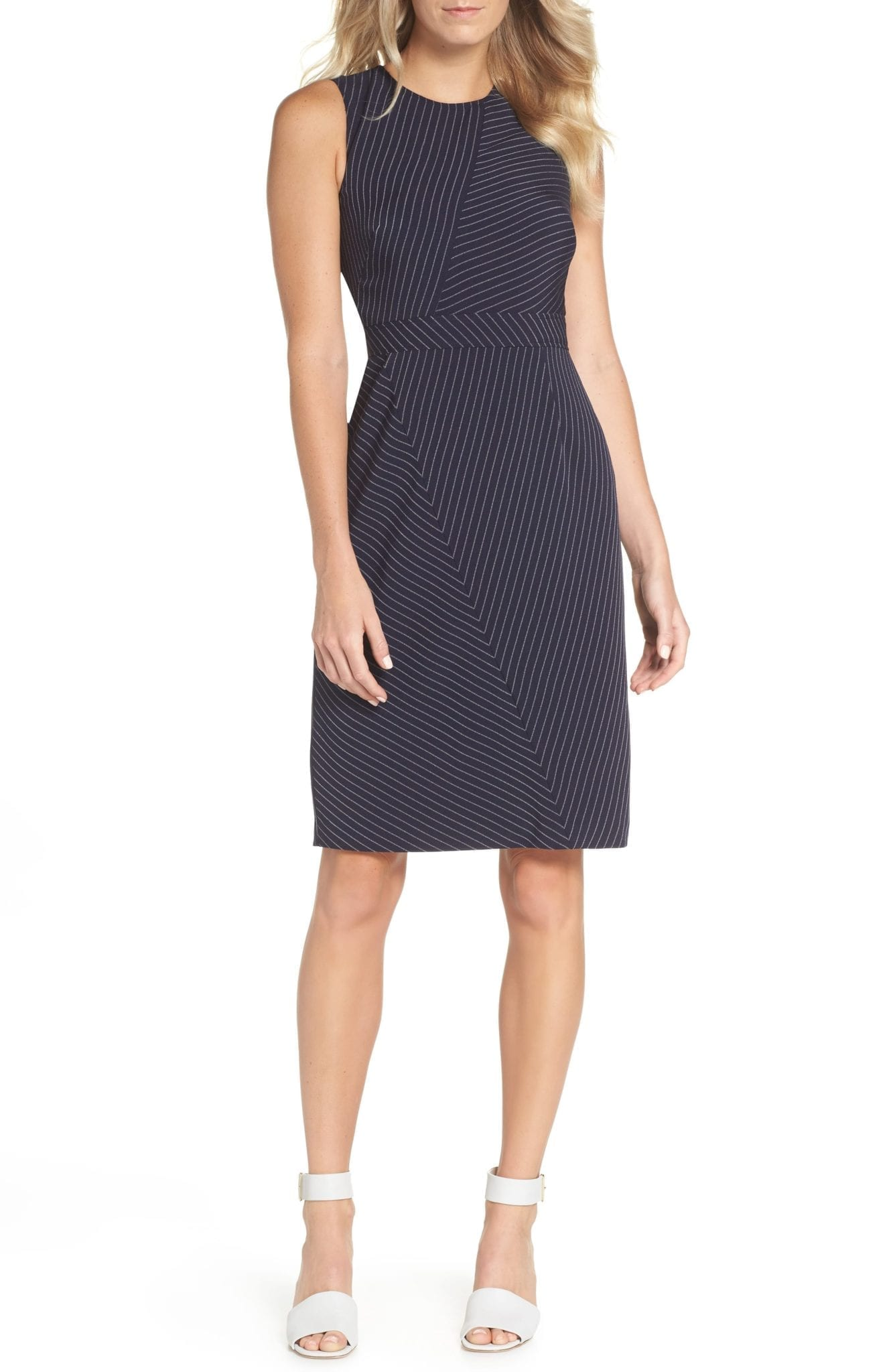 VINCE CAMUTO Stripe Sheath Navy Dress