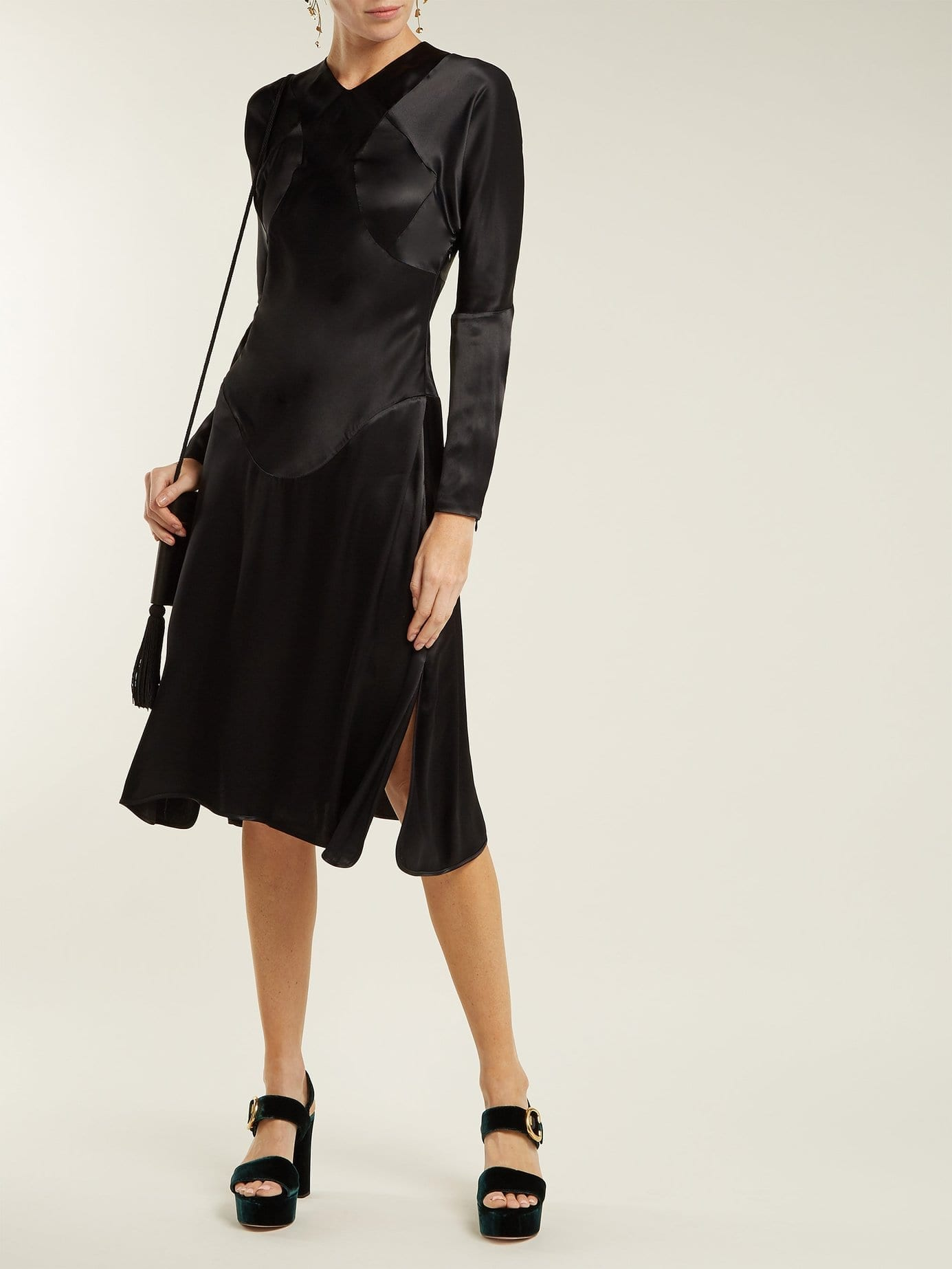 VIVIENNE WESTWOOD ANGLOMANIA Panelled Long Sleeved Satin Black Dress