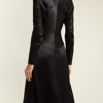 VIVIENNE WESTWOOD ANGLOMANIA Panelled Long Sleeved Satin Black Dress ... c9a3e763a