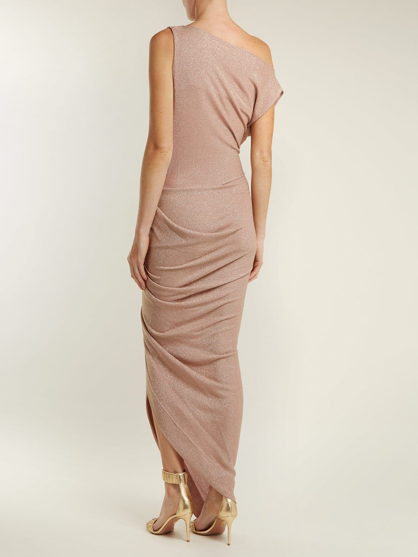 VIVIENNE WESTWOOD ANGLOMANIA Vian Off The-Shoulder Draped Pink Dress ...