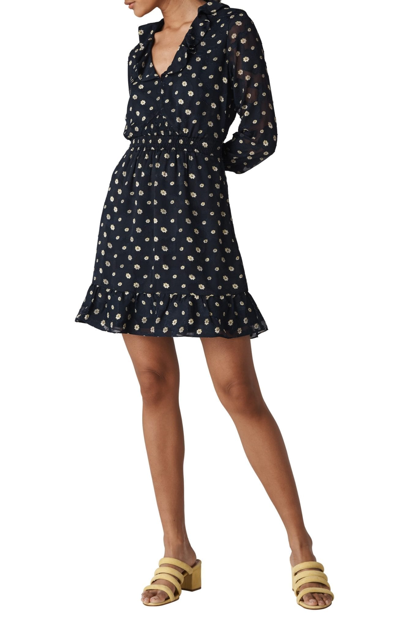 WHISTLES Aggie Embroidered Nevy Dress