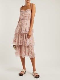 ZIMMERMANN Castile Embroidered Silk Chiffon Light Pink Dress
