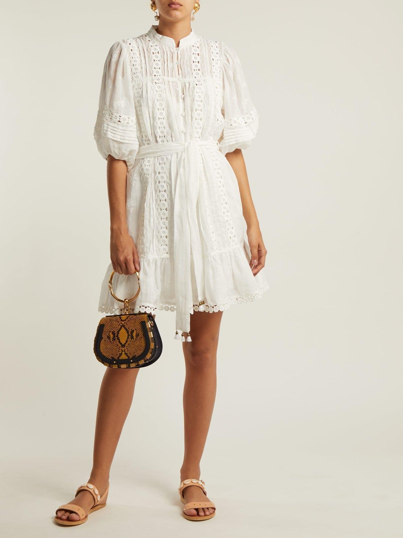 Zimmermann Castile Flower Lace Trimmed Voile White Dress