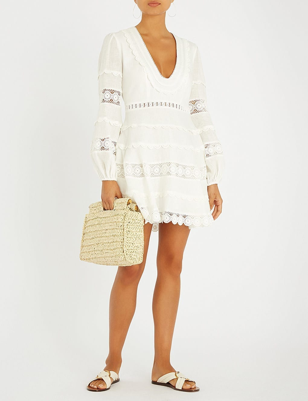 ZIMMERMANN Castile Plunge Short Linen Ivory Dress