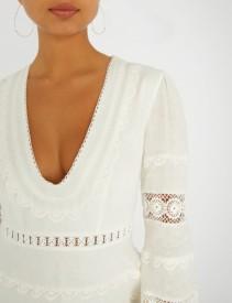 ZIMMERMANN Castile Plunge Short Linen Ivory Dress