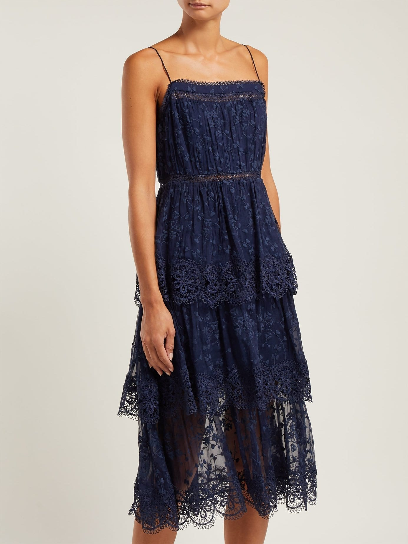 ZIMMERMANN Castile Tiered Embroidered Silk Chiffon Navy Dress