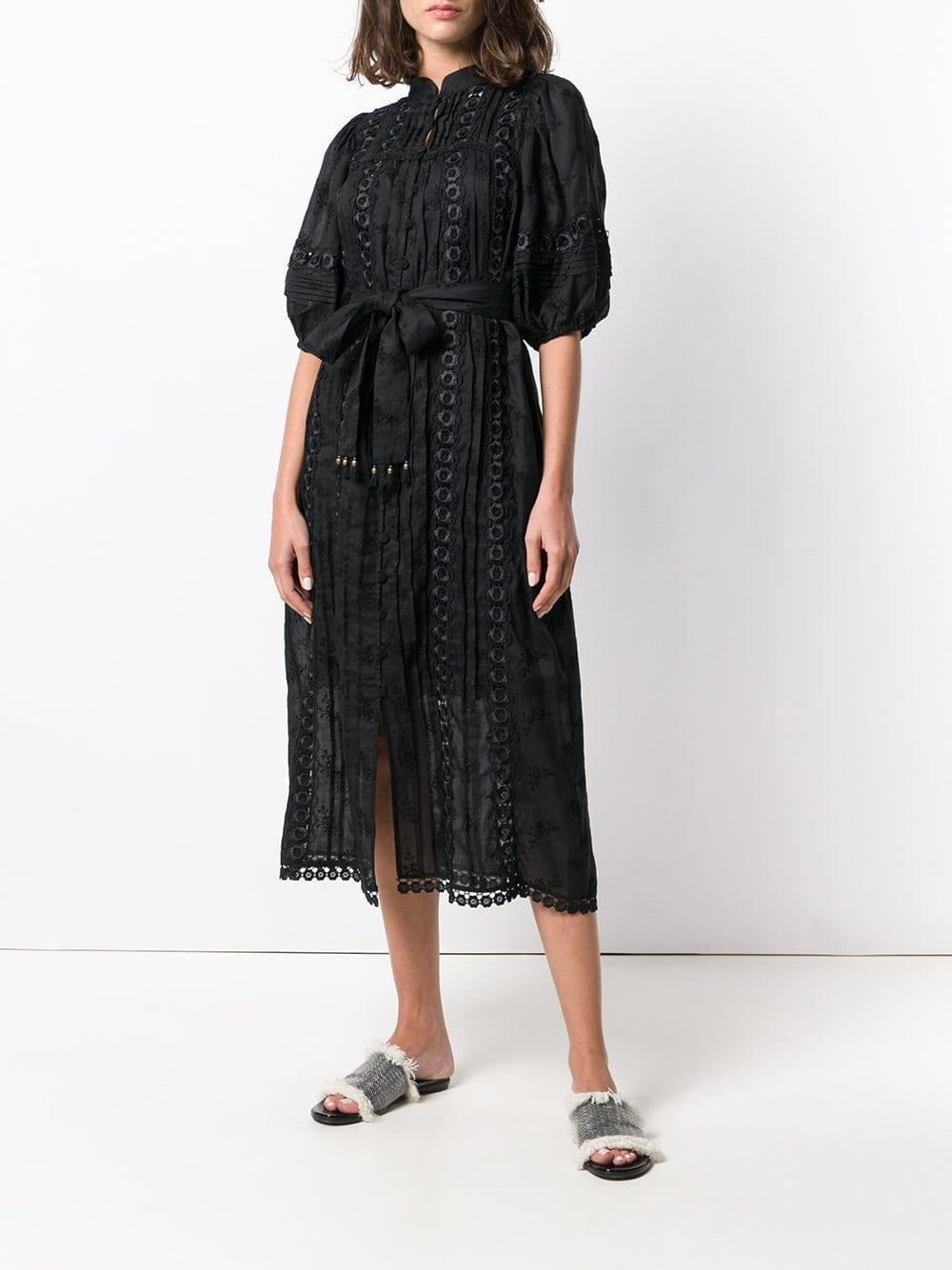 ZIMMERMANN Embroidered Belted Black Dress