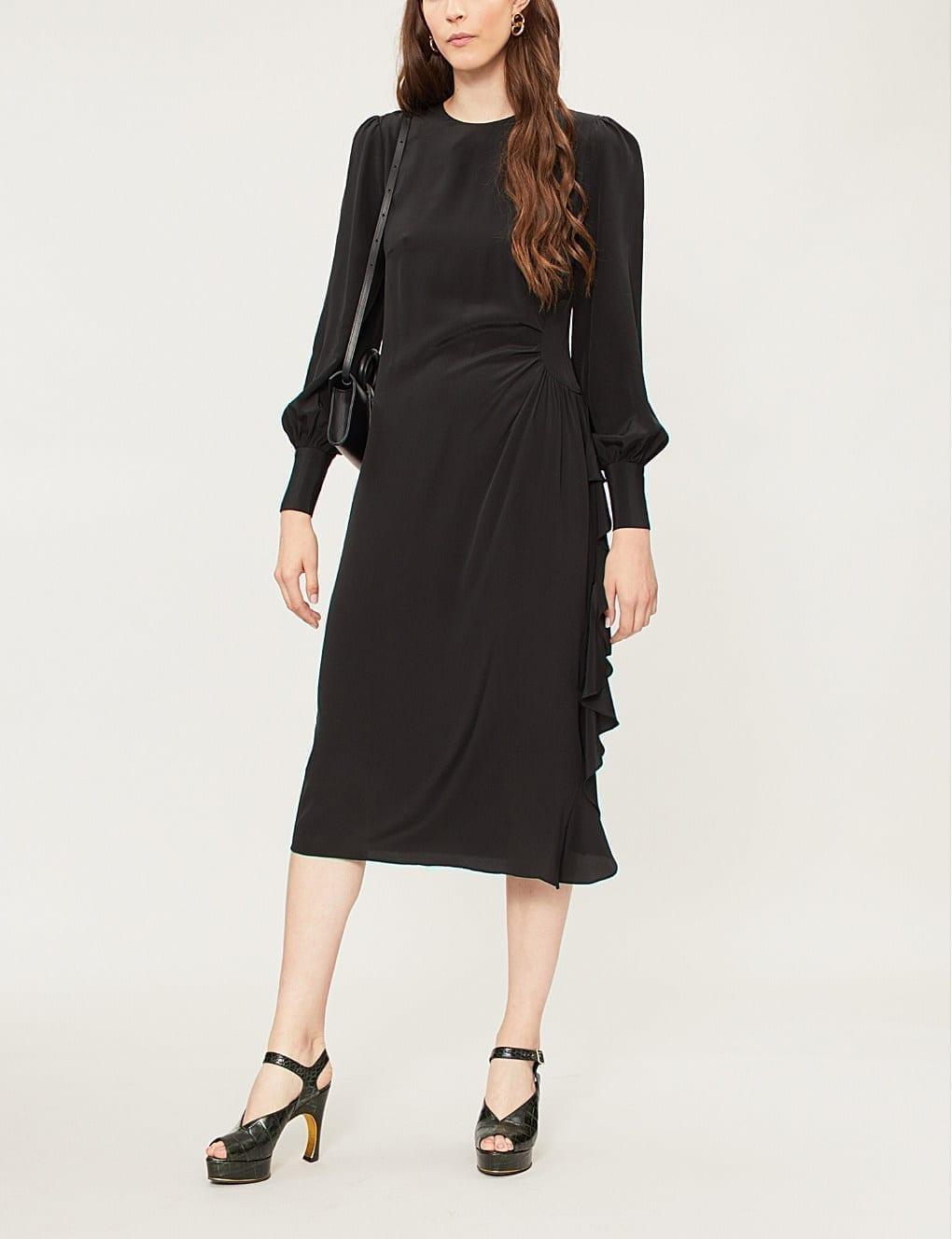 ZIMMERMANN Frilled Silk-satin Black Dress
