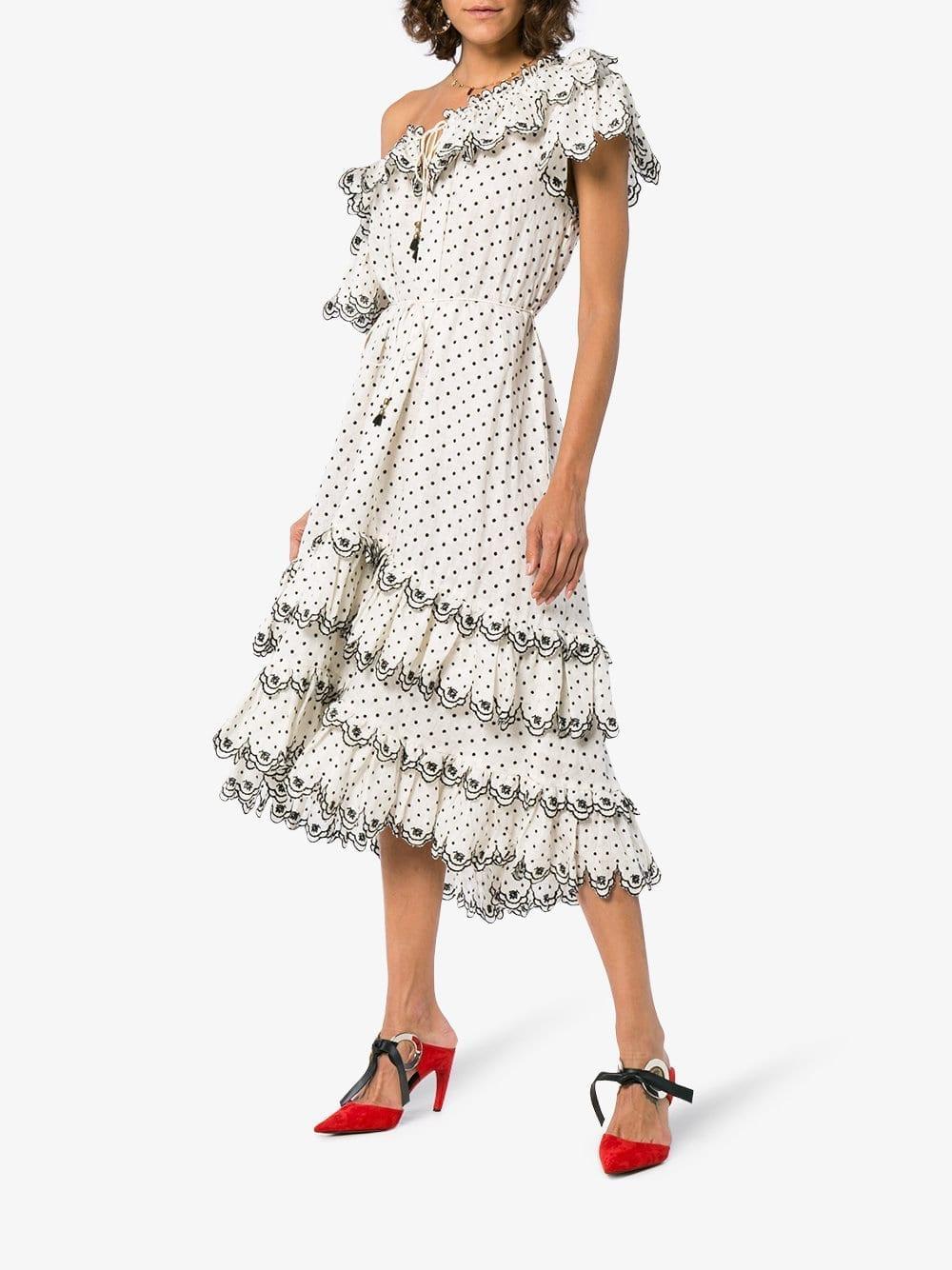 ZIMMERMANN Jaya Scallop Tiered Linen White Dress