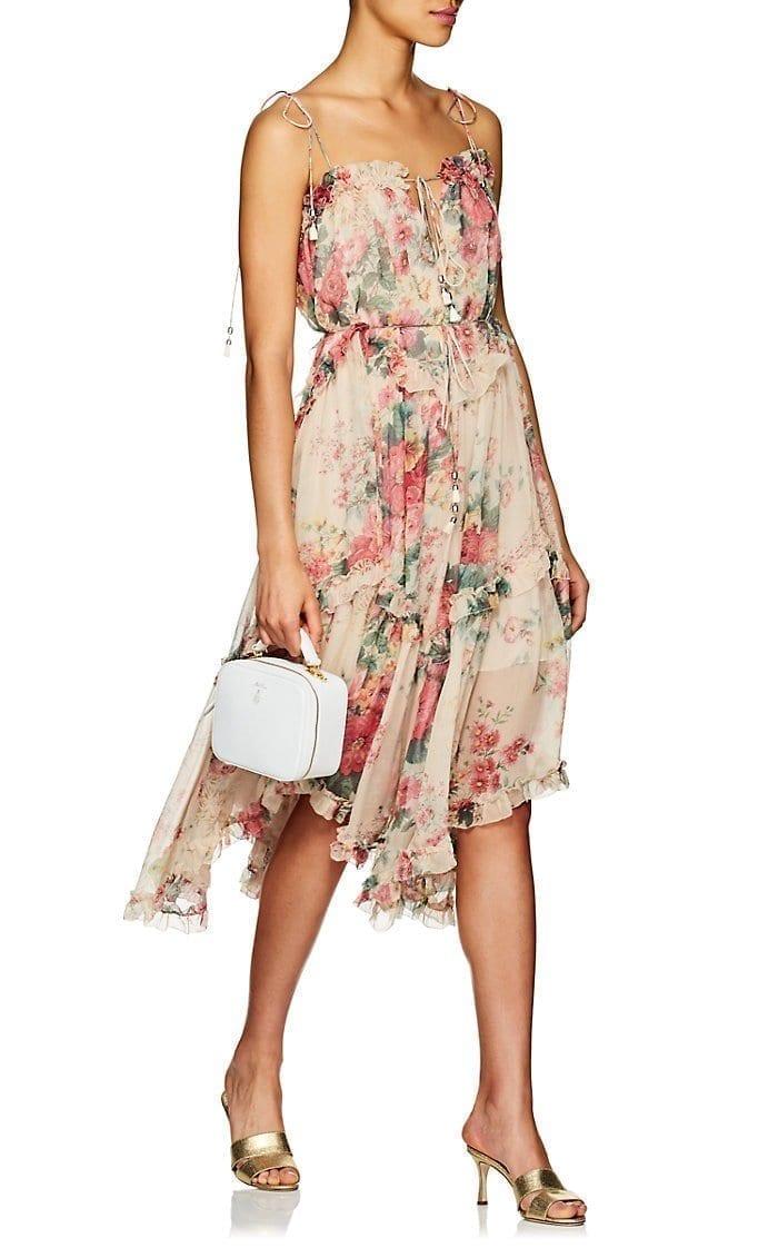 ZIMMERMANN Laelia Floral Silk Tiered Beige Dress