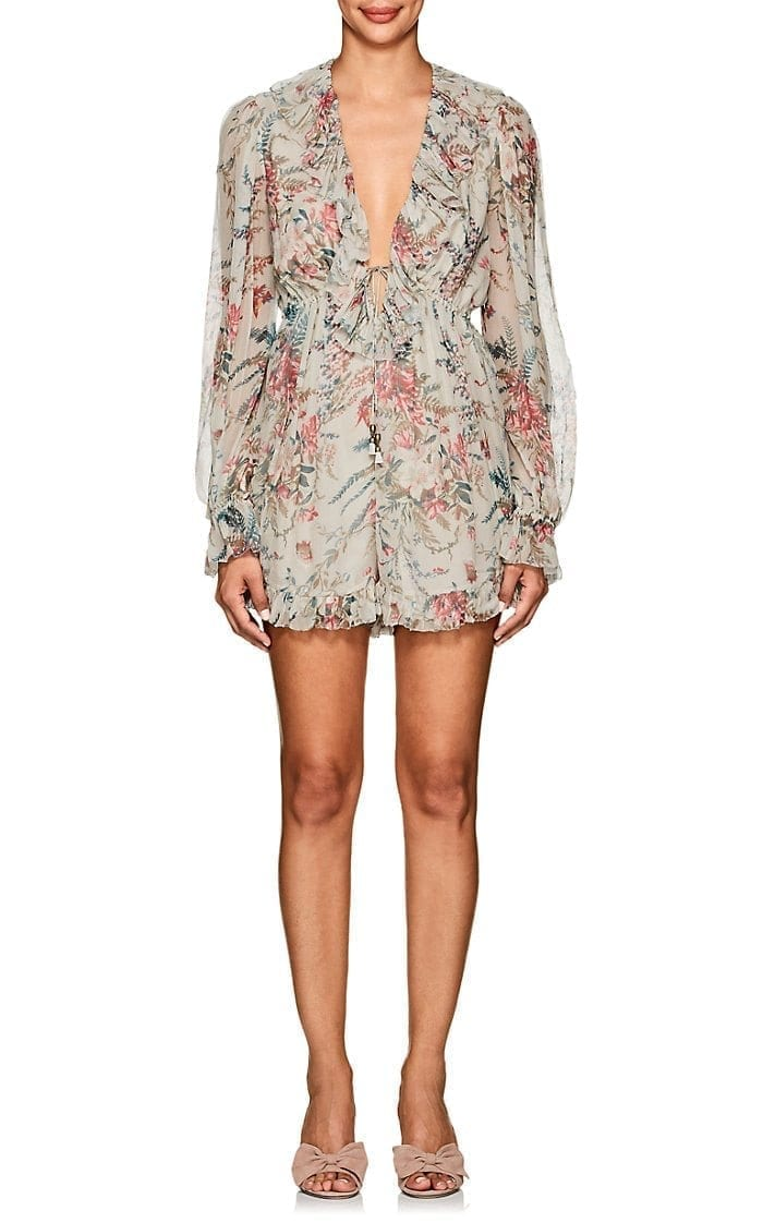 ZIMMERMANN Melody Floral Silk Grey Romper