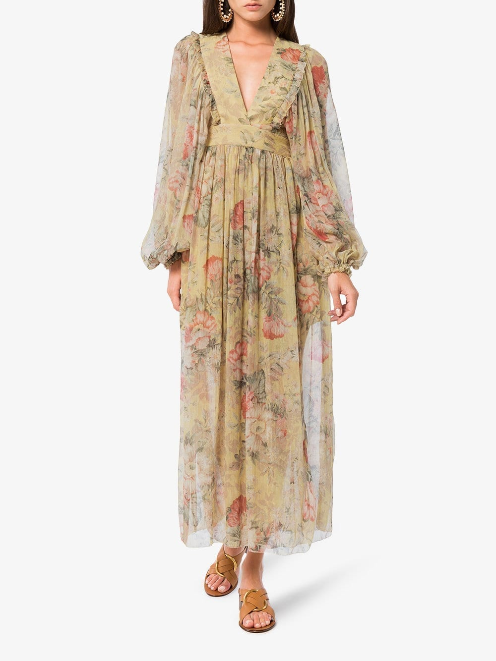 ZIMMERMANN Melody Wrap Maxi Floral Printed Dress
