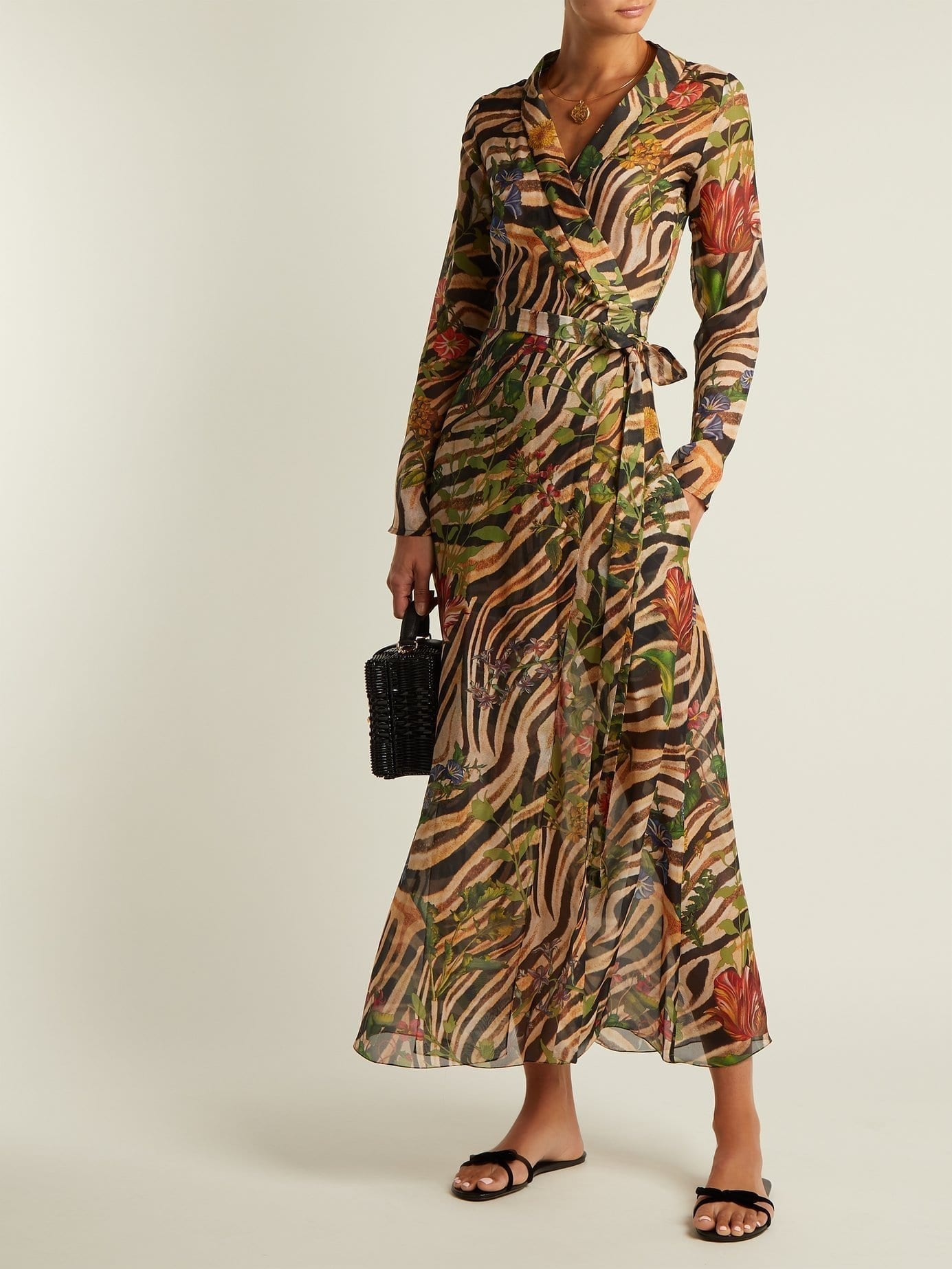 ADRIANA IGLESIAS Beverly Zebra Print Silk Chiffon Brown Dress