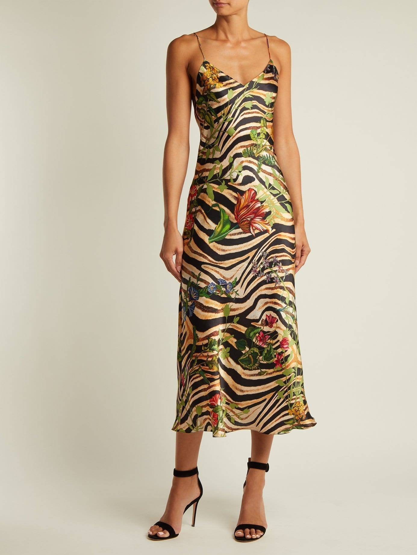 ADRIANA IGLESIAS Jadi Printed Silk Black Dress