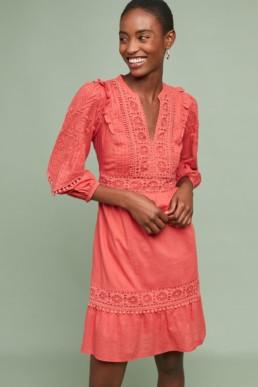 AKEMI + KIN Josephine Embroidered Orange Dress